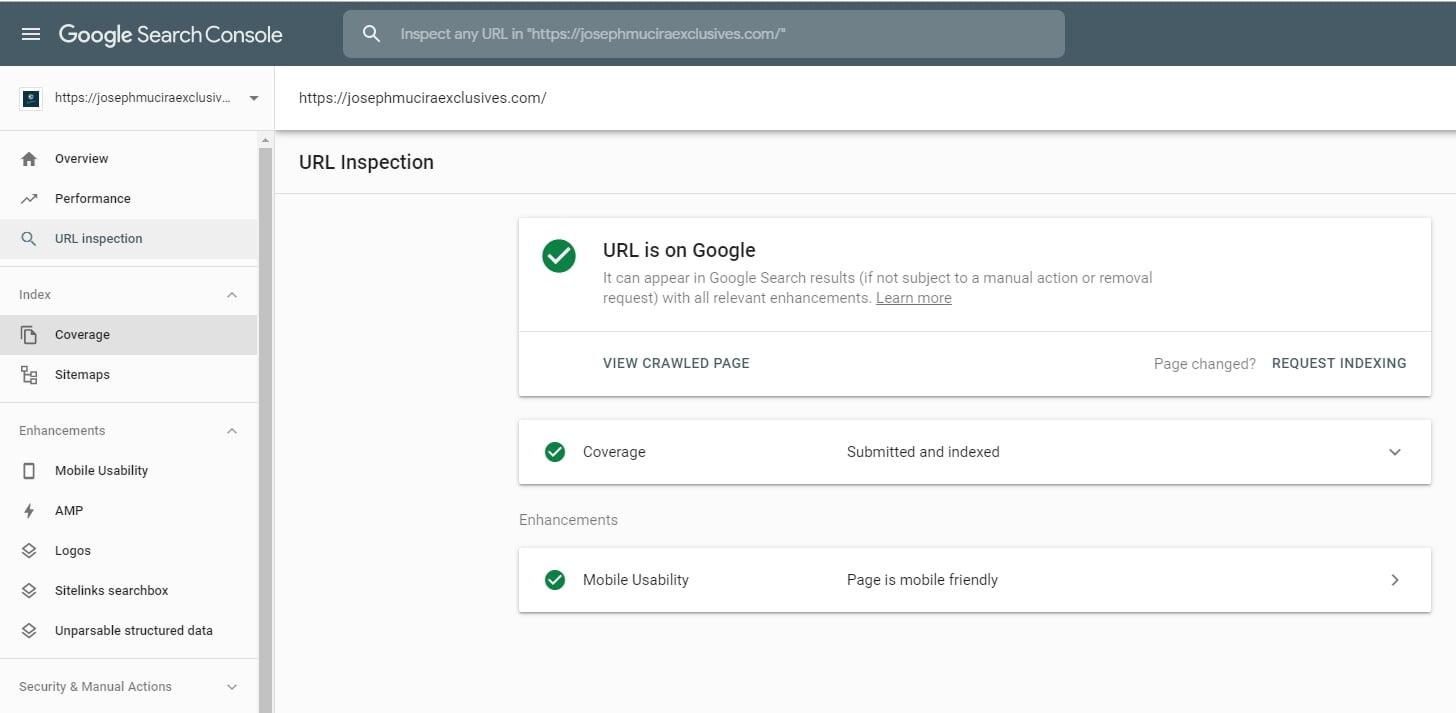 Google Search Console URL Index Coverage
