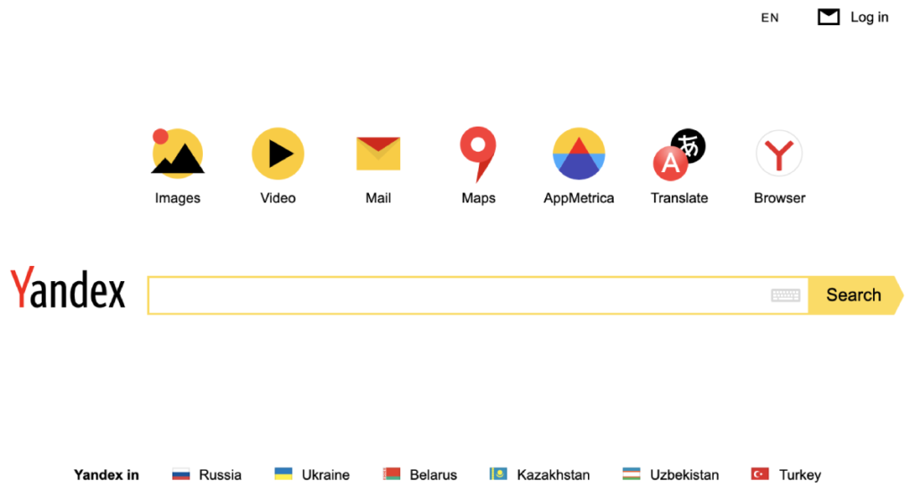 Yandex search engine for the Russian market