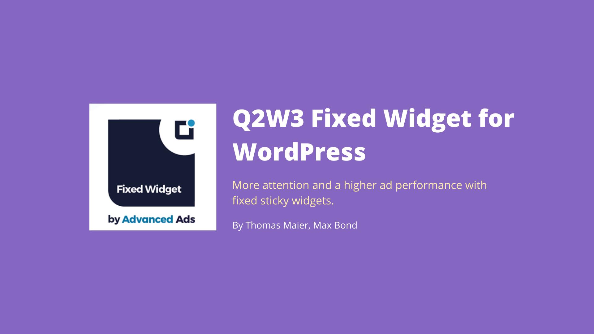 Q2W3 Fixed Widget for WordPress