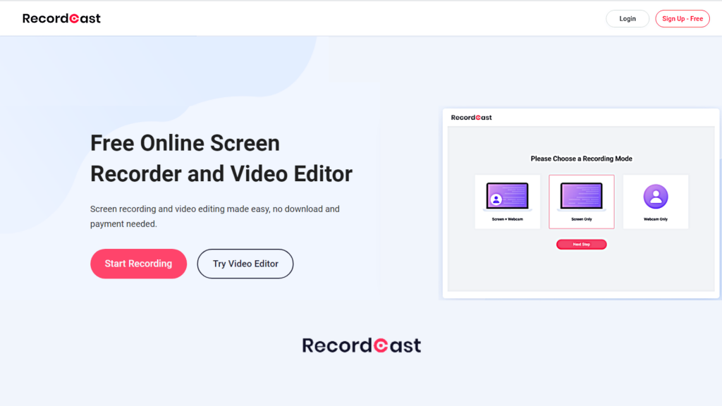 RecordCast | The No #1 Screen Recorder & Video Editor
