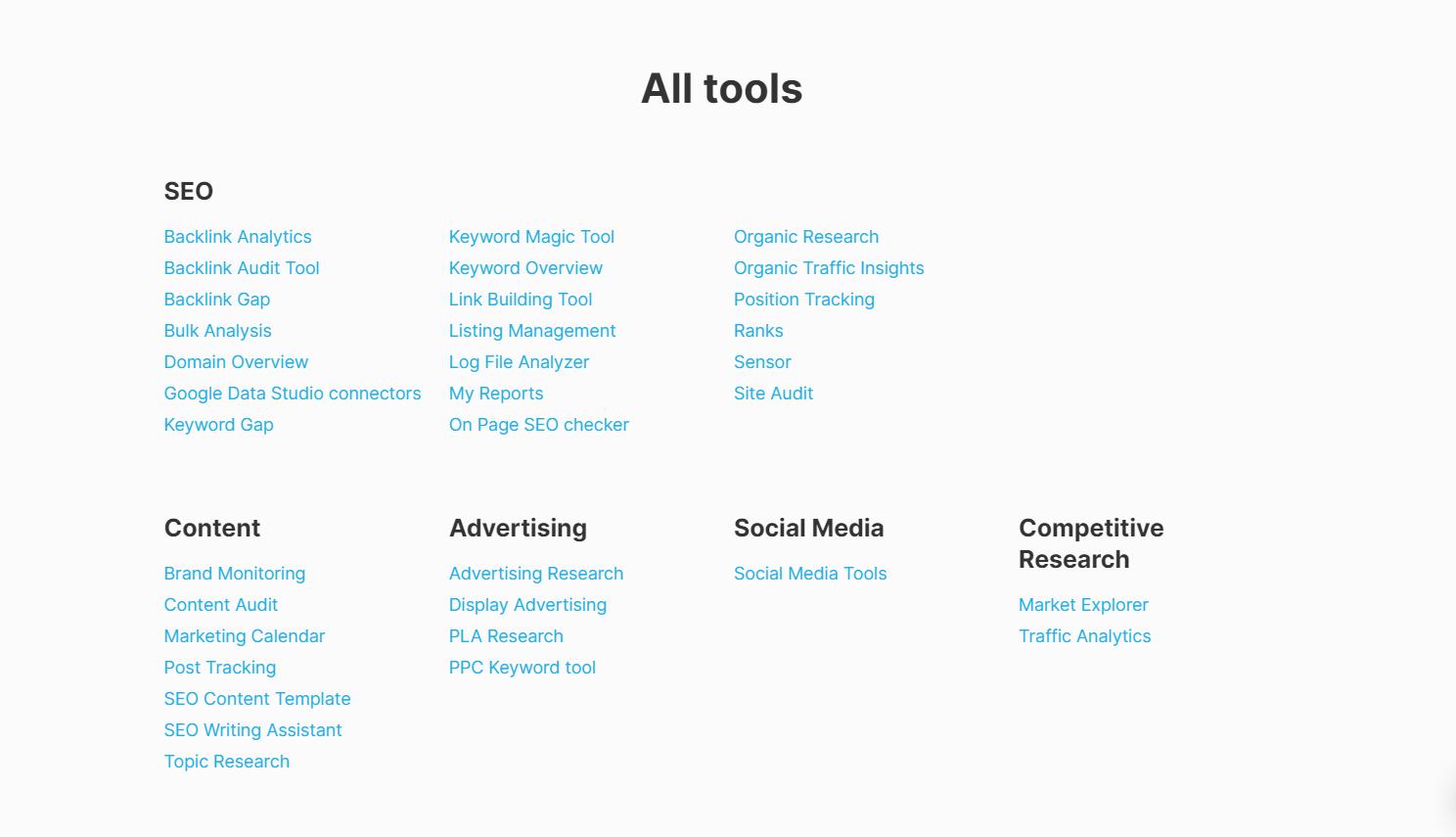 SEMrush Tools & Features