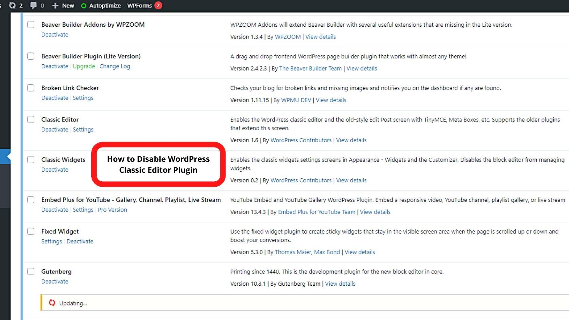 How to Disable WordPress Classic Editor Plugin